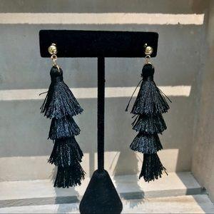 Jewelry - Gold & black fashion tiered fringe tassel earrings